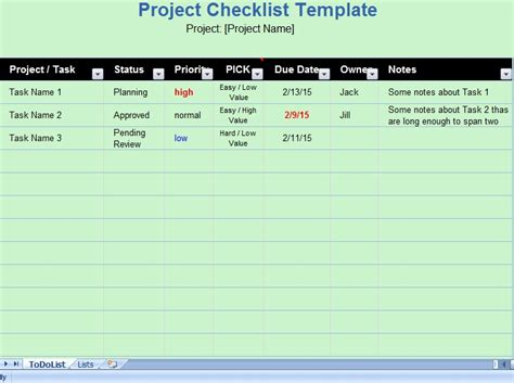 project list excel template get project checklist template exceltemple