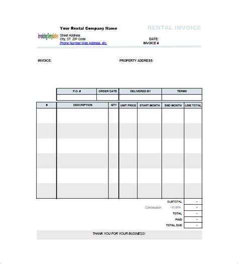 lease invoice template lease invoice templates 13 free word excel pdf format