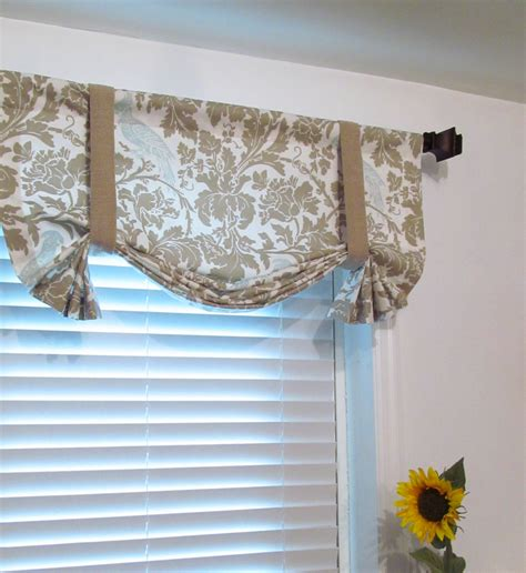 Tie Up Curtains Tie Up Lined Valance Barber Taupe Robin Custom By Supplierofdreams