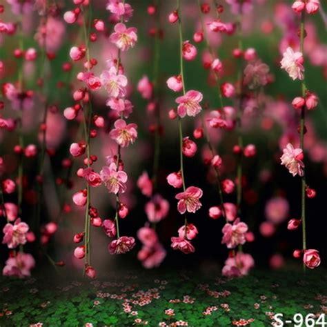xft pink floral flower branch spring green float bokeh