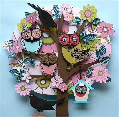 Paper Owls - paper cut owls paper