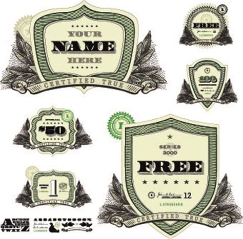 money template and label design vector 04 vector label