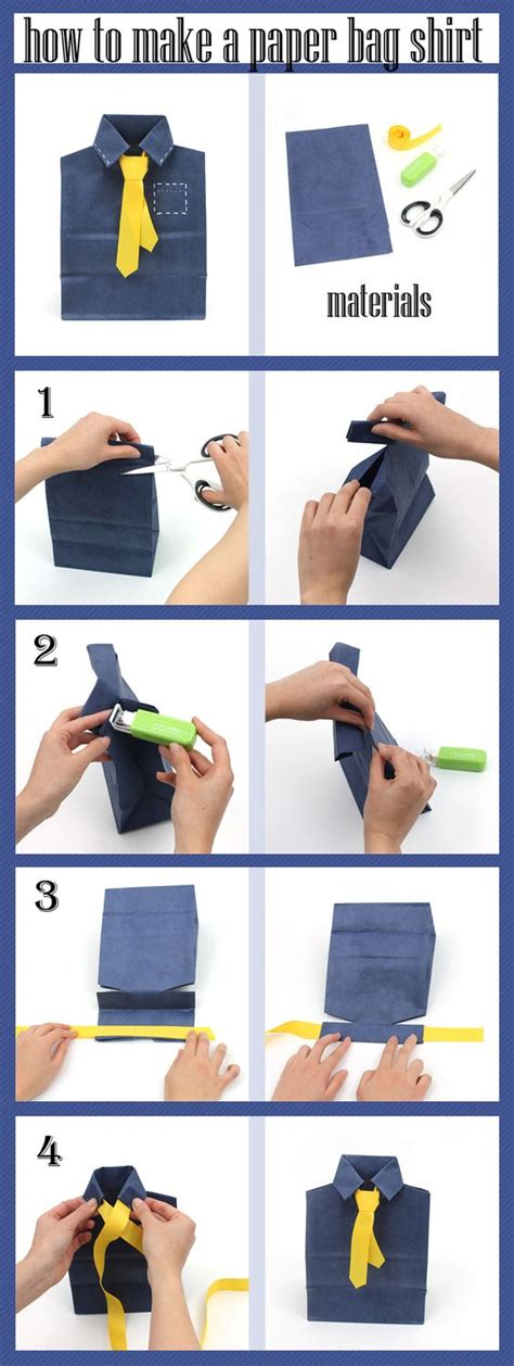How To Make A Paper Shirt And Tie Card - make a shirt and tie with a paper bag for detailed