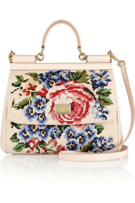 Dg Dolce And Gabbana Floral Canvas Satchel by Dolce Gabbana The Sicily Medium Floralembroidered