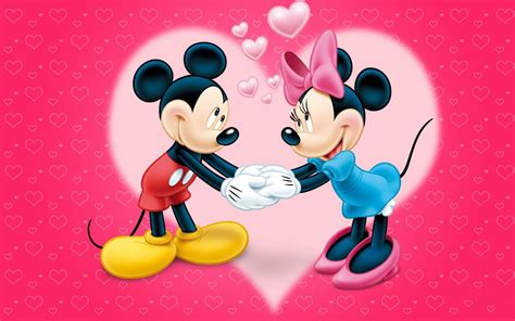mickey  minnie mouse love couple cartoon red wallpaper  hearts hd wallpaper  desktop