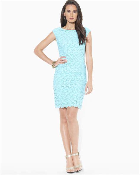 Lawren Dress pink pony dress cap sleeve lace in blue lyst