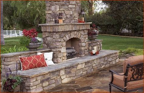backyard stone fireplace outdoor fireplace inspiration