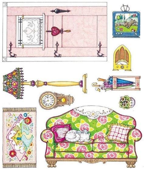 doll house stickers mary engelbreit cardboard dollhouse and sticker paper on pinterest