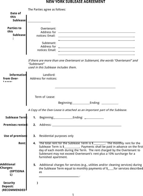 Download New York Rental Agreement For Free Formtemplate Sublease Agreement Template Nyc