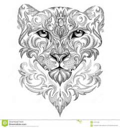 tattoo snow leopard panther cat with patterns and