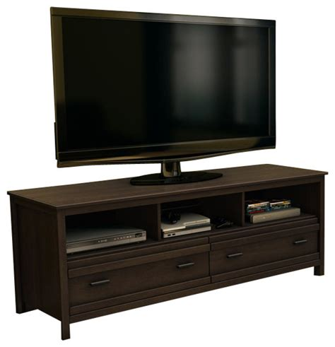 houzz tv stands south shore exhibit transitional style tv stand in mocha
