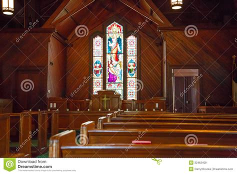 wood pews  stained glass  small church royalty