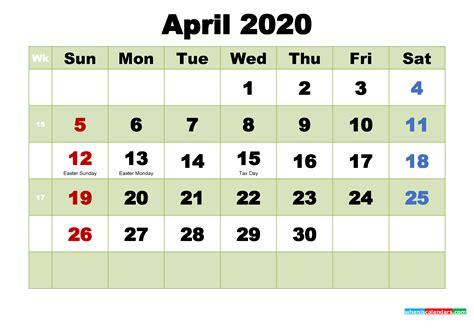 printable calendar  april   printable