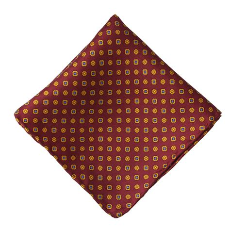 Gold Pattern Pocket Square | burgundy gold neat pattern silk pocket square elegant