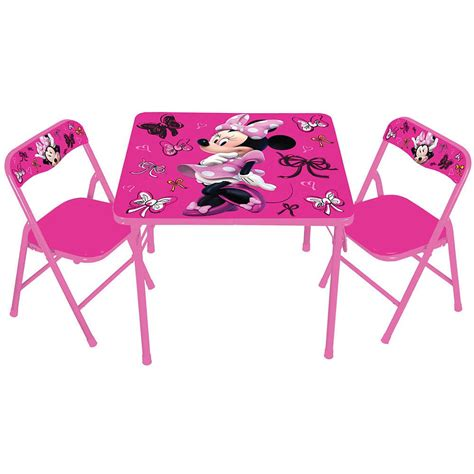 Childrens Folding Table And Chairs Set Disney Minnie Mouse Activity Folding Table And Padded Chair Set Ebay