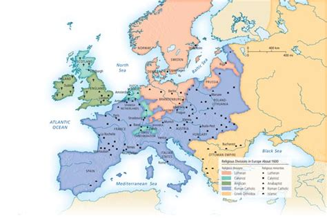 religion map europe religious divisions in europe about 1600