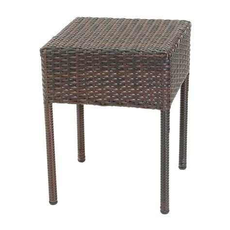 best selling home decor dominica outdoor square wicker shop best selling home decor 15 75 in w x 15 75 in l square end table at lowes
