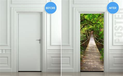 door stickers giant door sticker rope bridge tropic forest decole film