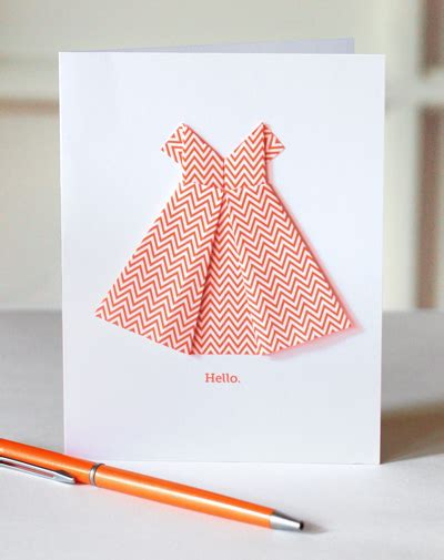 Origami Card - make an origami dress card how about orange