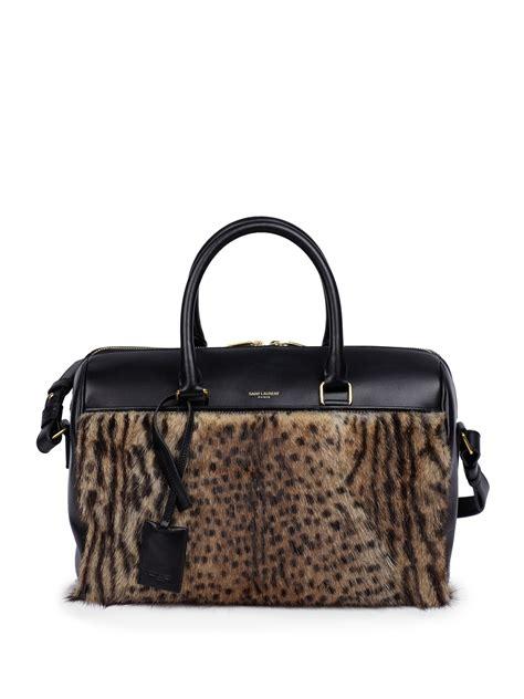 Prada And Marmot Fur Messenger Bag by Laurent Leopard Print Marmot Fur Leather Duffle 6