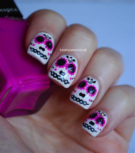 halloween nail art tutorial skulls in samazement sugar skull halloween nail art tutorial