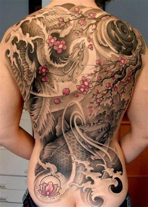 phoenix tattoo with cherry blossom cherry blossoms koi phoenix and water full back tattoo
