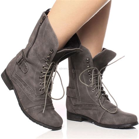 lace up biker womens military ladies combat army biker lace up low heel