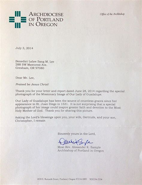 Formal Letter Your Excellency Letter From Archbishop Sle