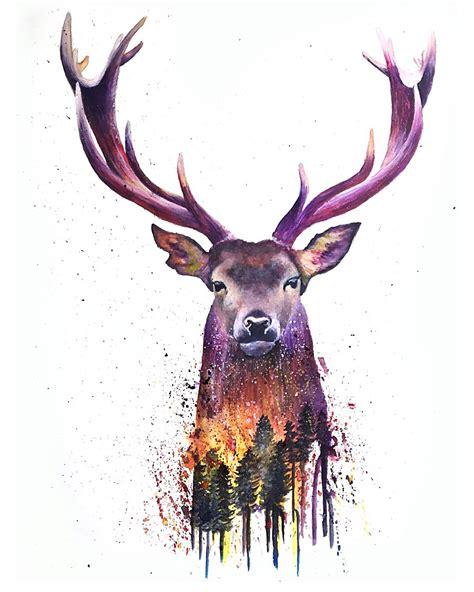 artfido buy art online deer watercolor 2736844025
