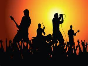 Colorful decor rock band instrument silhouette rock band silhouette