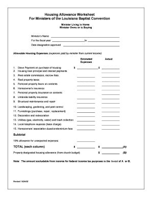 ssi housing allowance clergy housing allowance worksheet lesupercoin printables worksheets