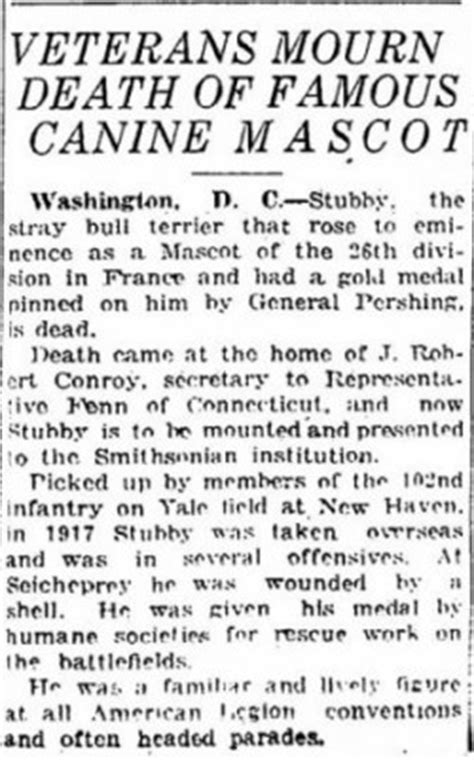 Sergeant Stubby Obituary U S Army War Makes Sergeant Ancestry