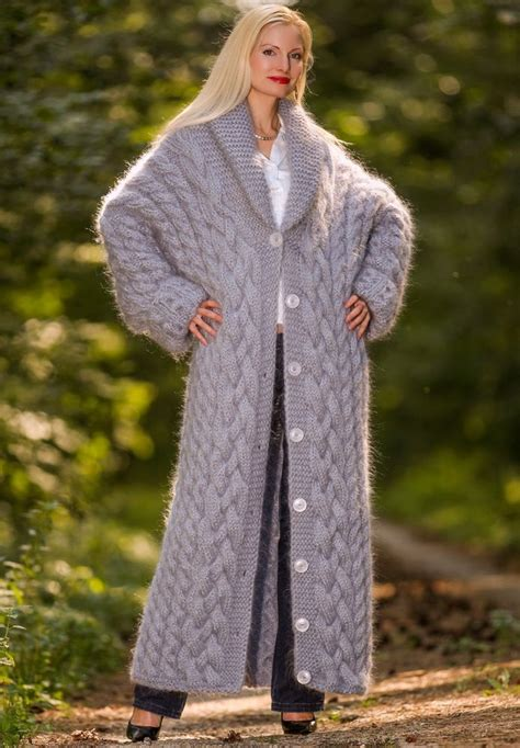 knit pattern long sweater coat 3 9 kg hand cable knit mohair coat gray thick long fuzzy