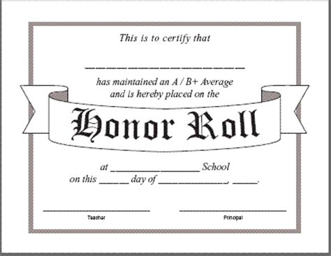 a b honor roll certificate template honor roll certificate templatereference letters words
