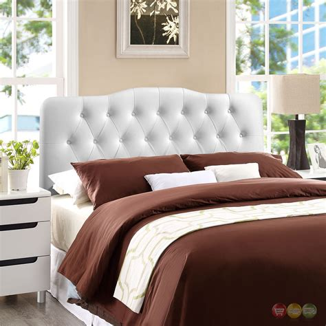 white arched headboard annabel faux leather button tufted arched full headboard
