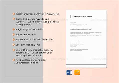 Acknowledgement Receipt Template Word by Acknowledgement Receipt Template In Word Docs