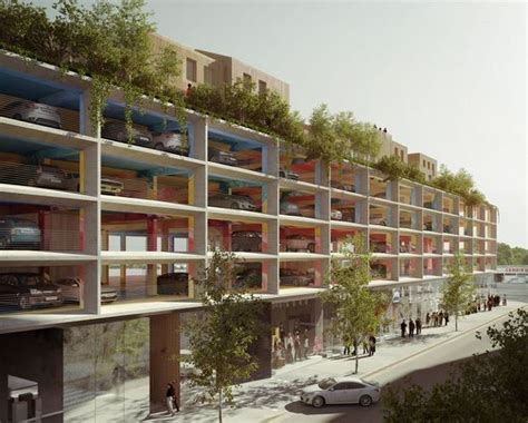 Apartment Garage Floor Plans architects plan a car park with a courtyard on top