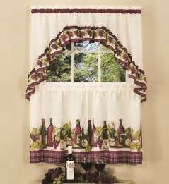 Kitchen Curtains With Grapes Wine And Grapes Window Curtain Set Kitchen Swag 36 Quot Tiers Bottles Wine Decor