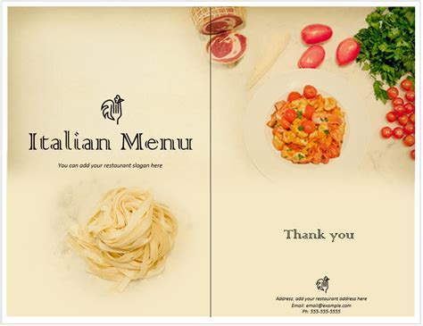 italian food menu template format template