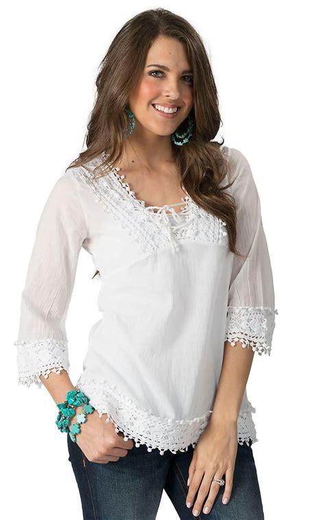 White Crochet Sleeved Shirt 1 Roper S White With Crochet V Neck 3 4 Sleeve Top