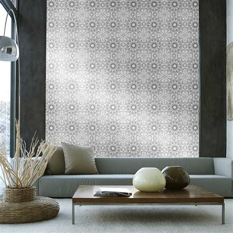 Temporary Wall Paper | temporary wallpaper medallion metallic silver black