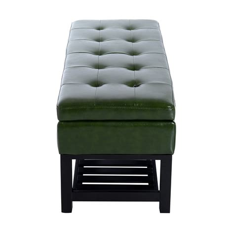 dark green ottoman homcom 44 quot pu leather tufted shoe rack ottoman storage