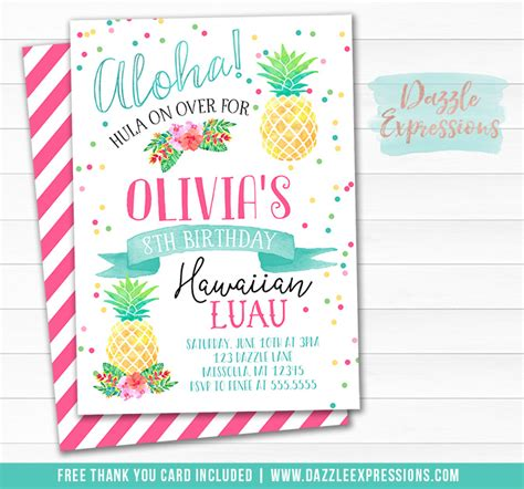 free printable luau thank you cards printable watercolor luau birthday invitation tropical