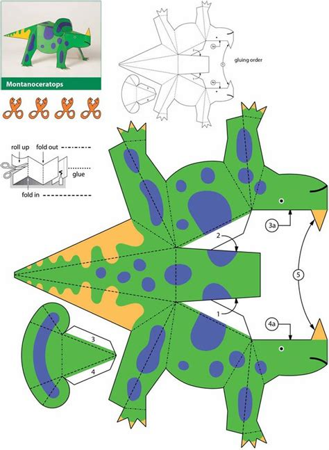 Dinosaur Papercraft - dinosaurs kiragami for easy to make paper toys 4