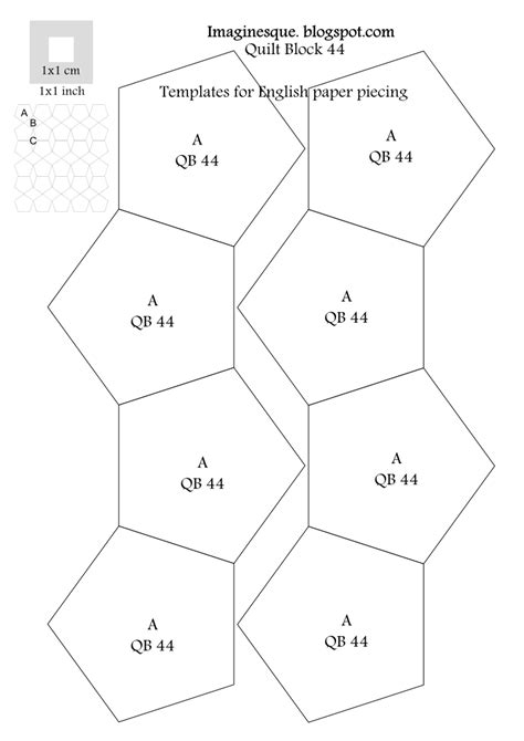 hexagon templates for paper piecing imaginesque quilting block 44 pattern templates for