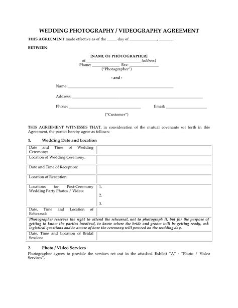 Wedding Photography And Videography by Wedding Photography And Videography Contract Forms