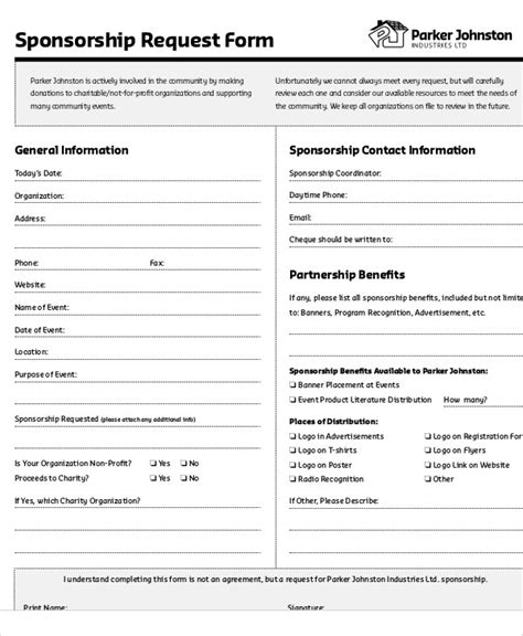 9 Sle Sponsorship Request Forms Sle Templates Sponsorship Request Form Template