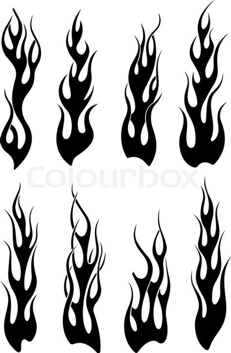 set of black tribal flames stock vector colourbox