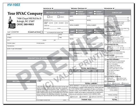 time and material invoice template free design fast shipping on hvac forms hvac invoices