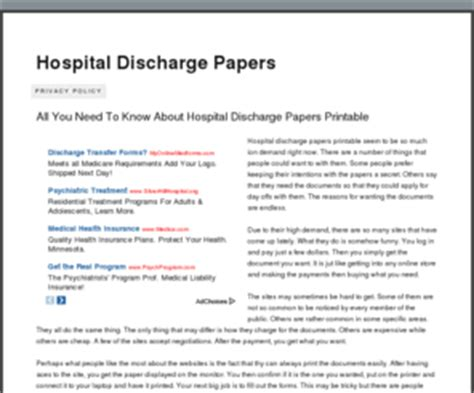 How To Make A Hospital Discharge Paper - hospitaldischargepapers org hospital discharge papers